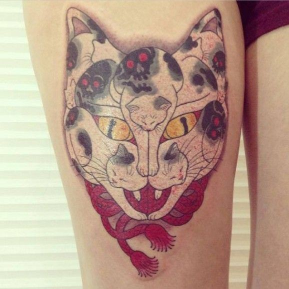 Cat consisting of cats tattoo by Horimoto