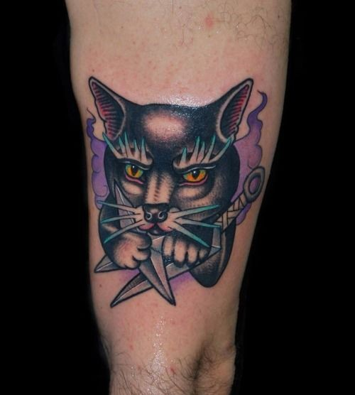 Cat with daggers tattoo by Alex Ciliegia