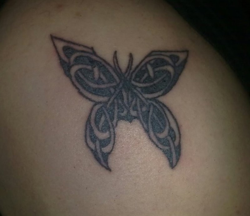 Celtic butterfly tattoo for men- on shoulder