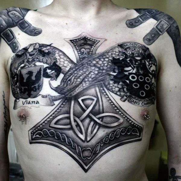 Celtic style colored chest tattoo of fantasy snake with emblem