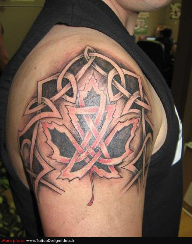 Celtic style colored ornaments with maple leaf tattoo on shoulder