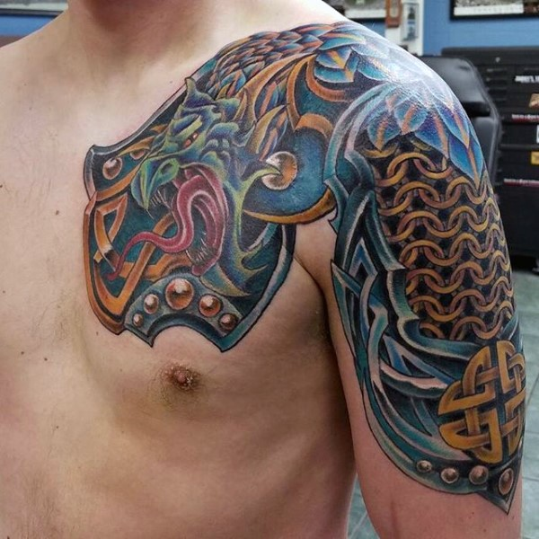 Celtic style colored shoulder and chest tattoo of big dragon