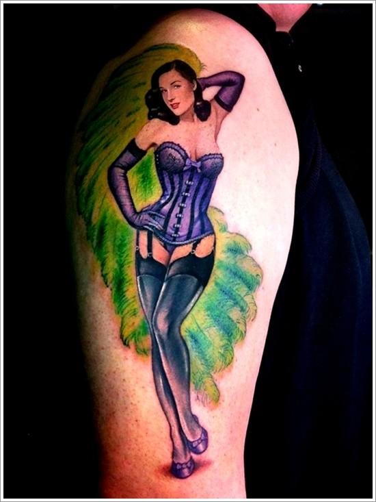 Charming pin up girl burlesque dancer tattoo
