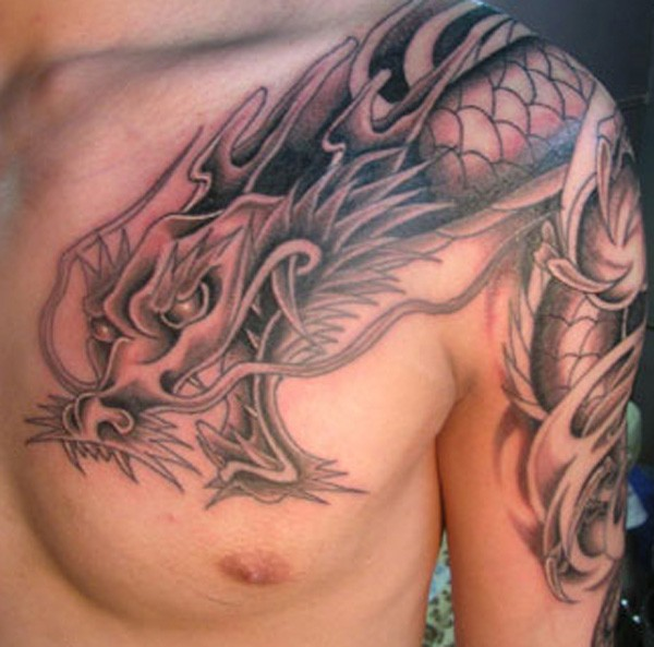 Chinese dragon tattoo on chest