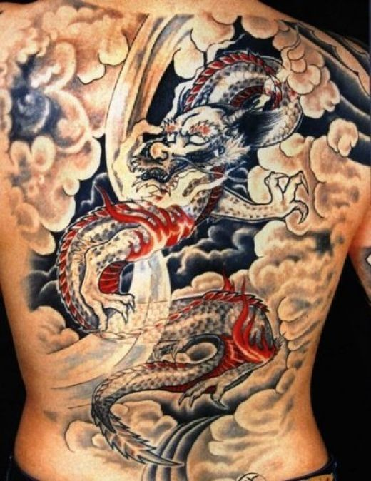 Chinese dragon tattoo with color on all back