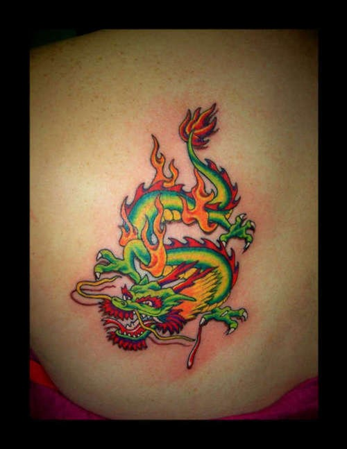 Chinese large green dragon tattoo