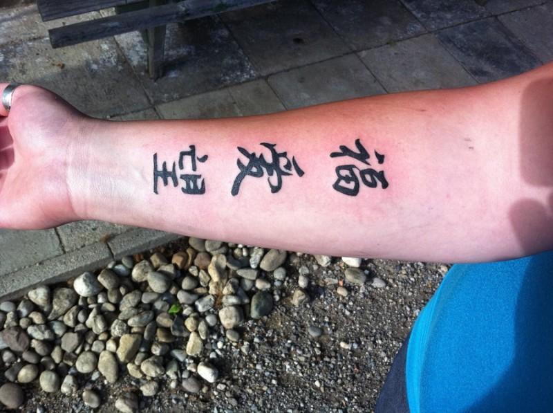 Chinese tattoo script on hand