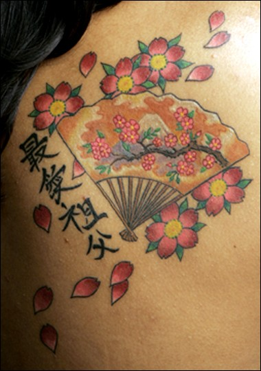 Chinese tattoo with cherry blossom and fan