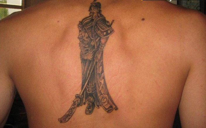 Chinese warrior tattoo on back
