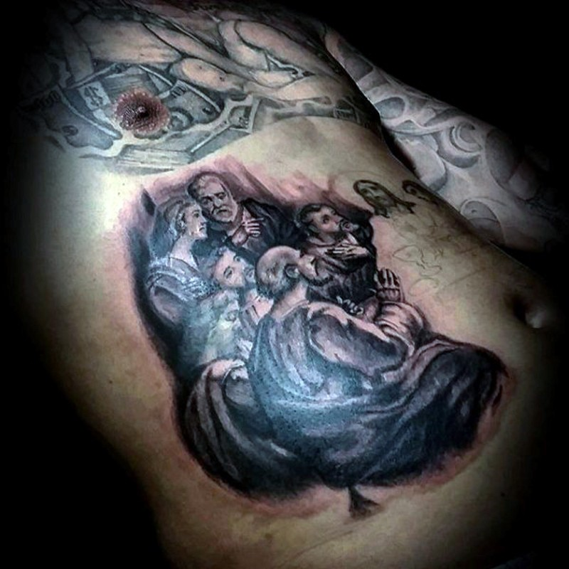 Christian style black and white people tattoo on belly