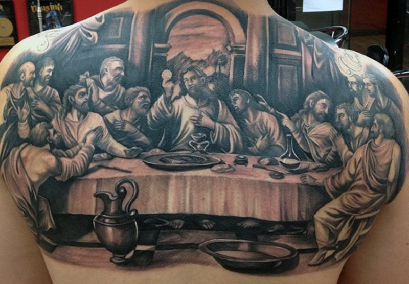 Christian themed black and white big natural looking Lord&quots Supper painting tattoo on upper back