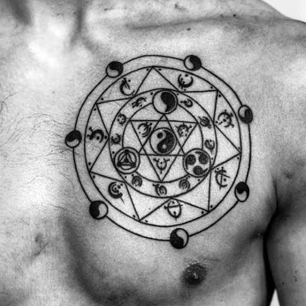 Circle shaped black ink Asian traditional chest tattoo of mystical symbols