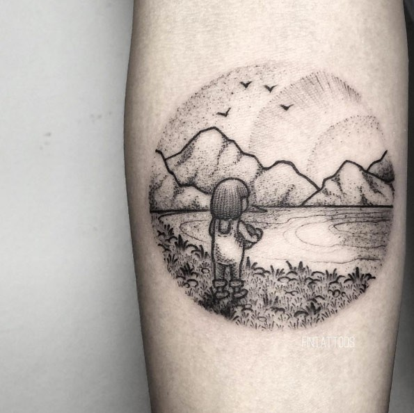 Circle shaped dot style forearm tattoo of little girl on lake shore with mountains