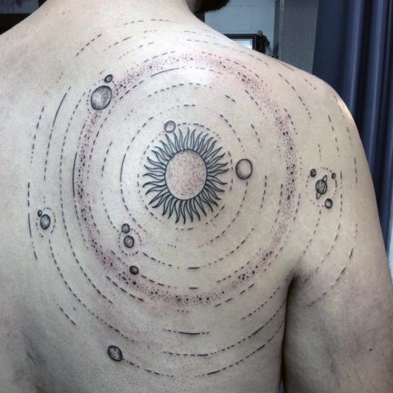 de0440dbf74 Circle shaped solar system tattoo on back and shoulder ...