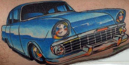 classica macchina blu tatuaggio