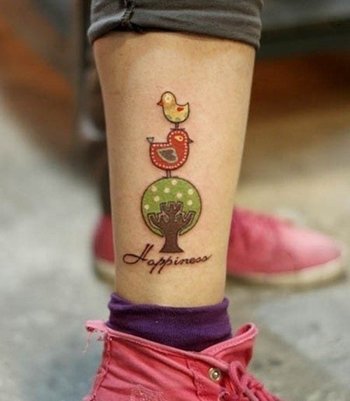 Color ink cute birds on tree ankle tattoo