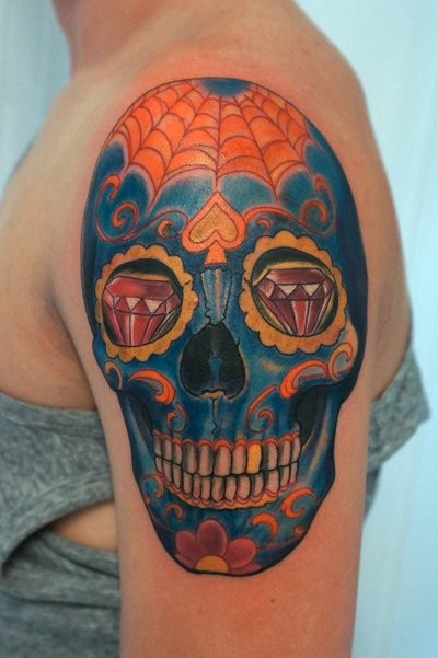 Color tattoo skull by graynd