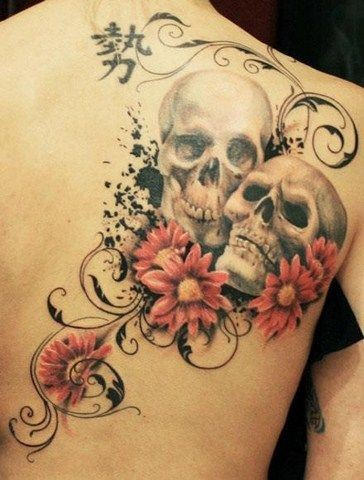 Colored tattoo two skulls and flowers on the back