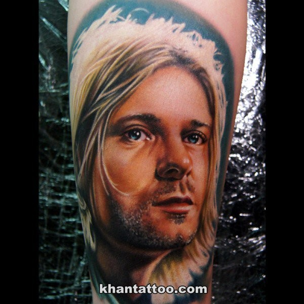 Colored 3D lifelike Kurt Cobain&quots portrait tattoo