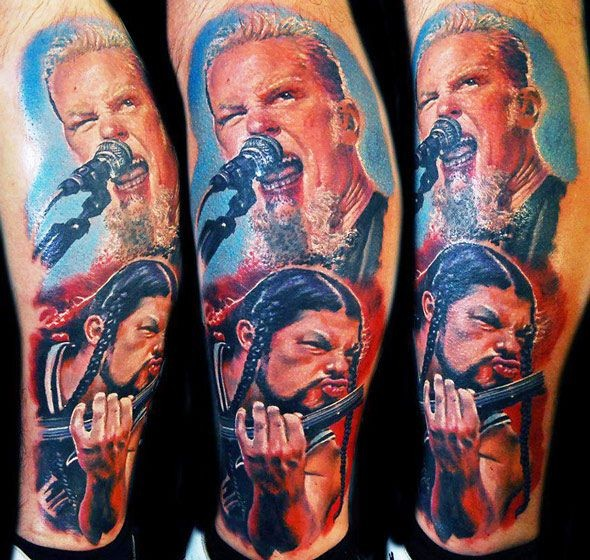 Colored arm tattoo of famous singers