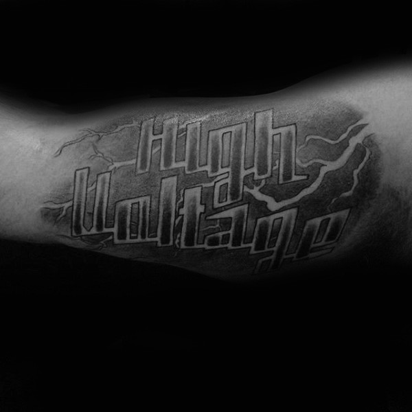 Colored biceps tattoo of lineman lettering with lightning