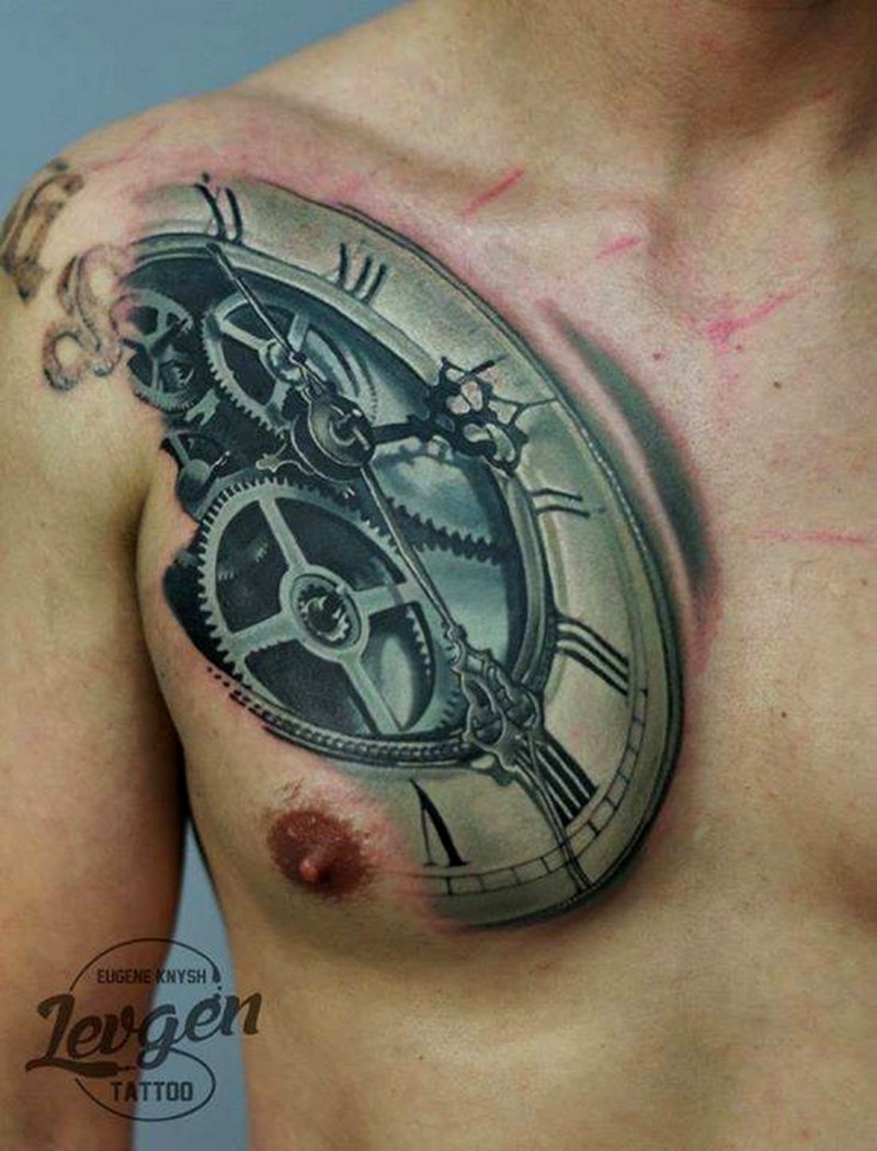 Colored chest tattoo of beautiful mechanical clock