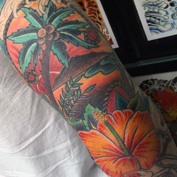 colored coconut tree and hibiscus flower detailed tattoo. Black Bedroom Furniture Sets. Home Design Ideas