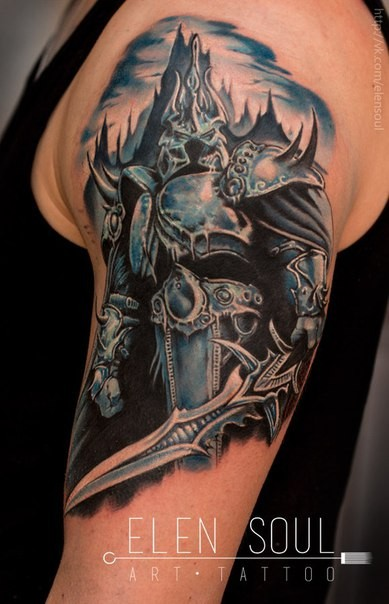 colored cool looking illustrative style lich king tattoo
