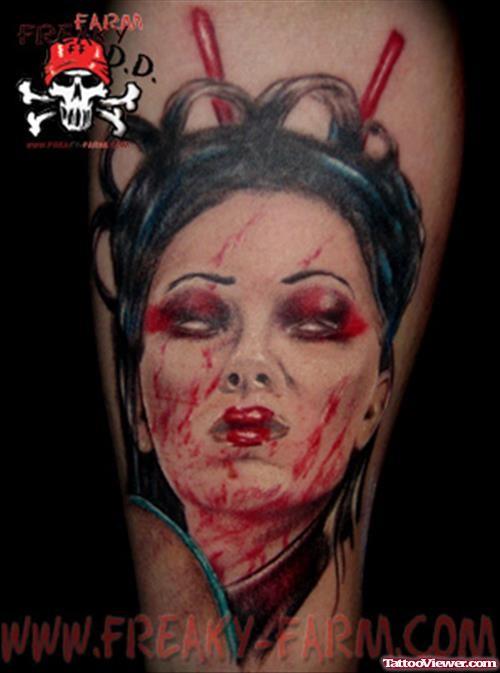 Colored creepy looking demonic geisha portrait tattoo