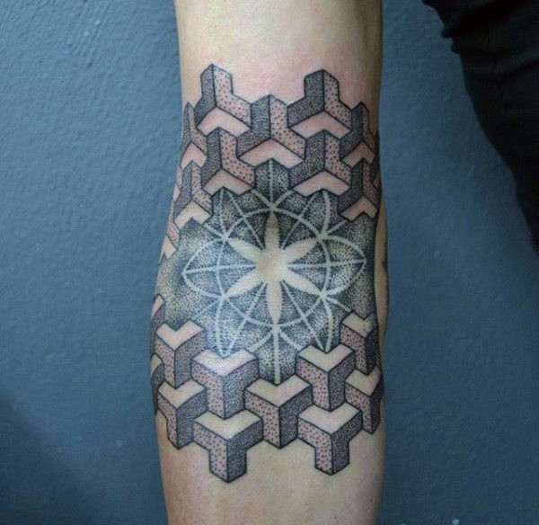 Colored dotwork style arm tattoo of star with geometrical ornaments