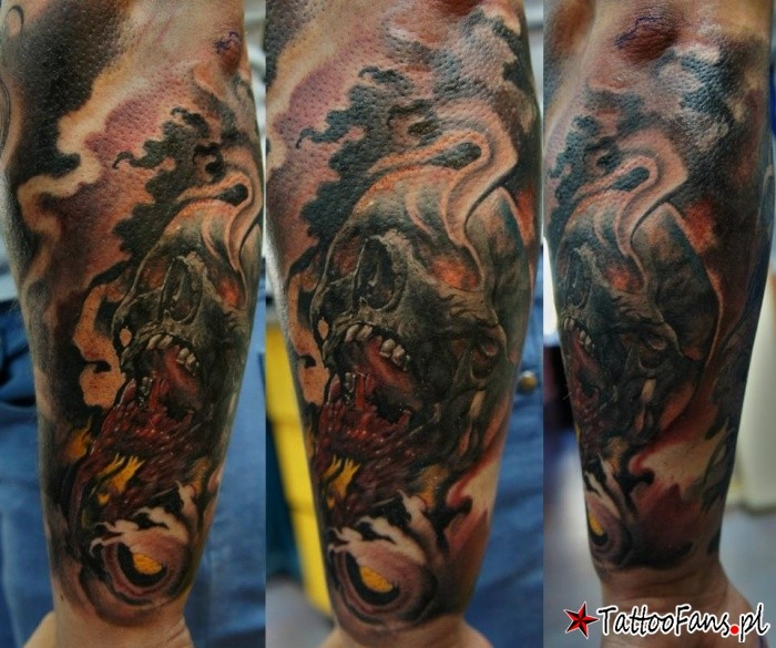 Colored fantasy style arm tattoo of big steamy skull