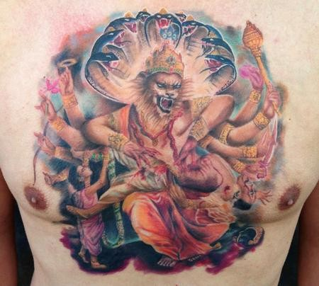 Colored fantasy style chest tattoo of Hinduism Goddess