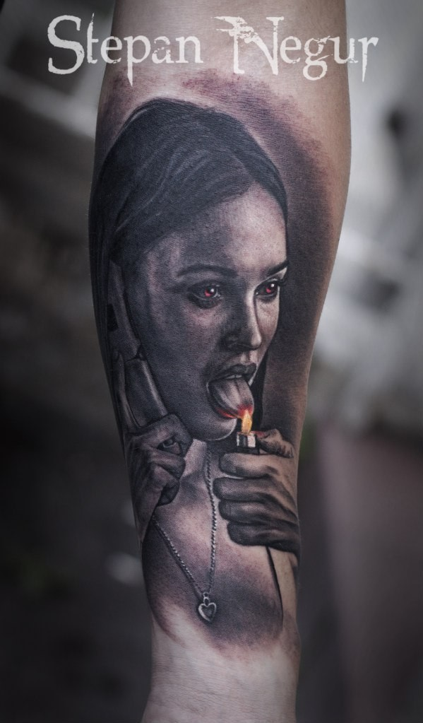 Colored forearm tattoo of creepy woman with lighter