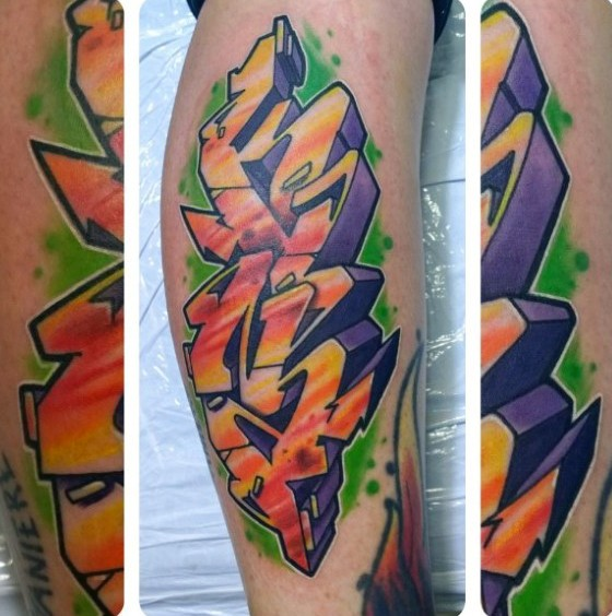 Colored graffiti style leg tattoo of typical lettering