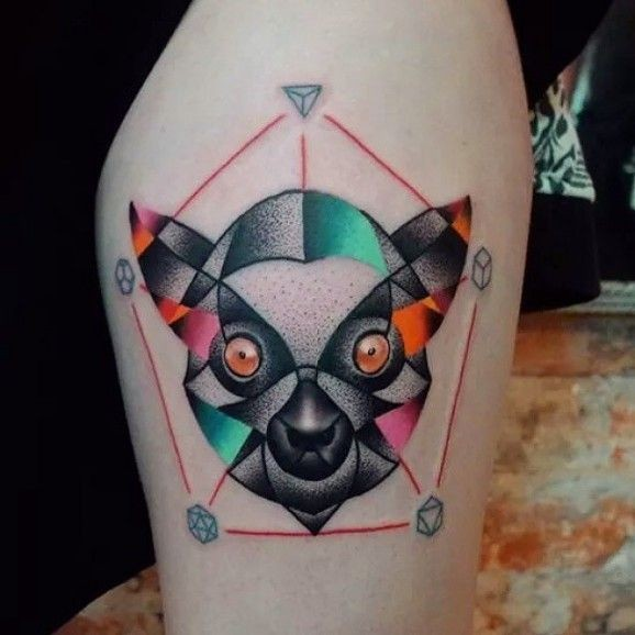 Colored head lemur in the pentagon tattoo
