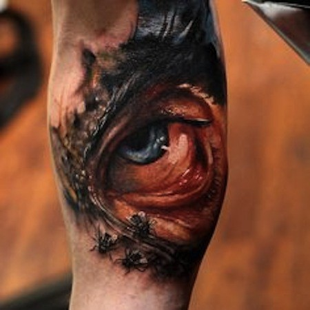 Colored horror style arm tattoo of creepy eye