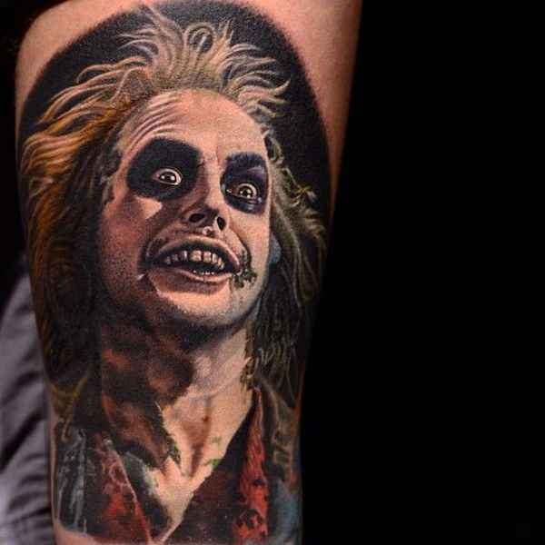 Colored horror style big creepy clown tattoo