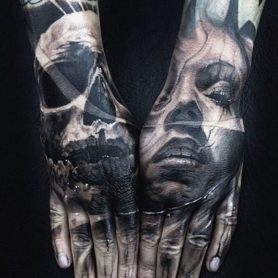 Colored horror style big mystic woman with skull tattoo on hands