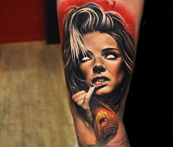 Colored horror style colored arm tattoo of woman face with wooden heart