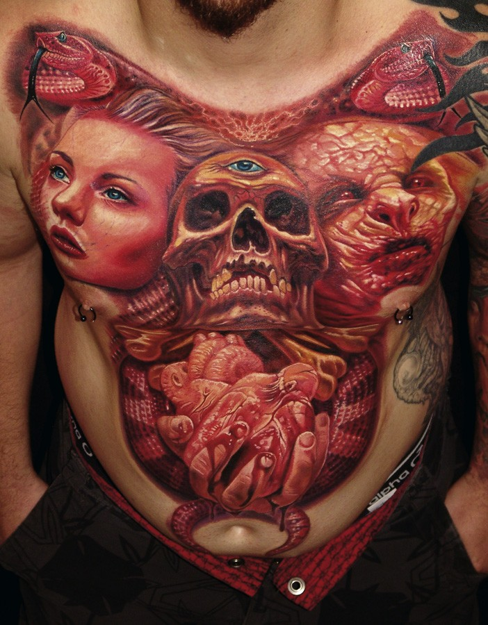 Colored horror style colored chest tattoo og human skull with various portraits and heart