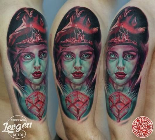 Colored horror style colored shoulder tattoo of witch with cube