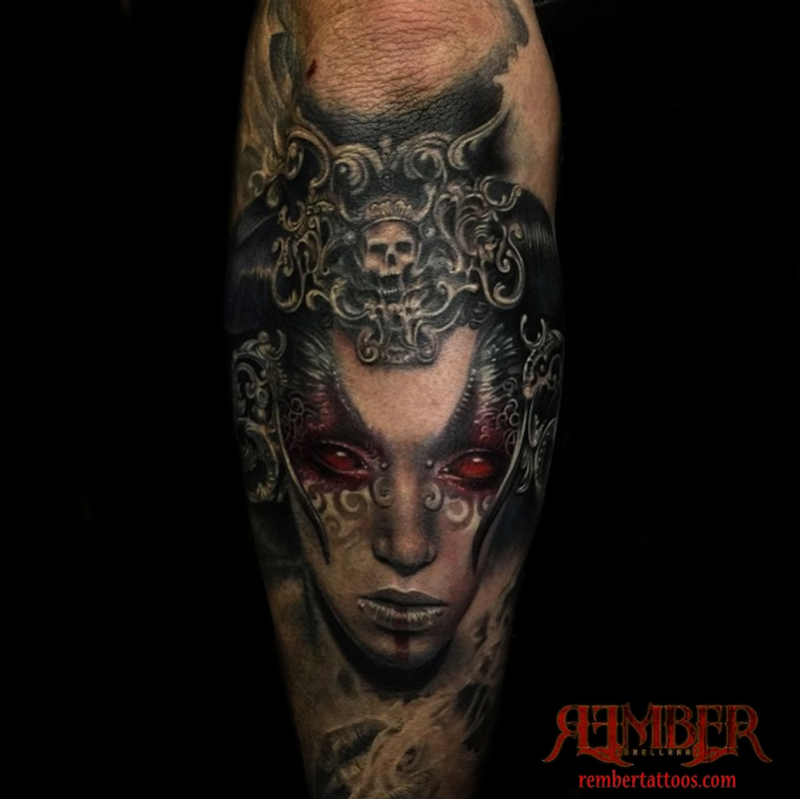 Colored horror style creepy looking arm tattoo of devils woman