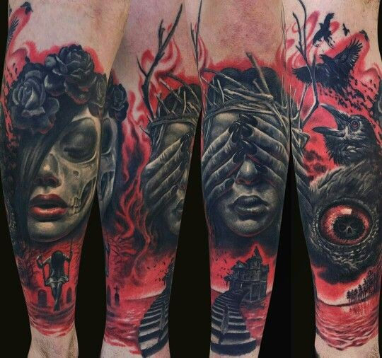 Colored horror style creepy looking arm tattoo of mystic woman face with crow and bloody house