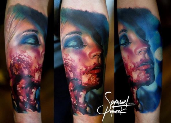 Colored horror style creepy looking arm tattoo of bloody woman
