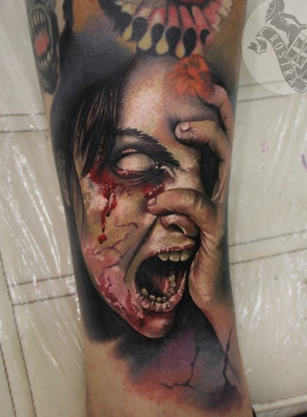 Colored horror style creepy looking bloody woman face