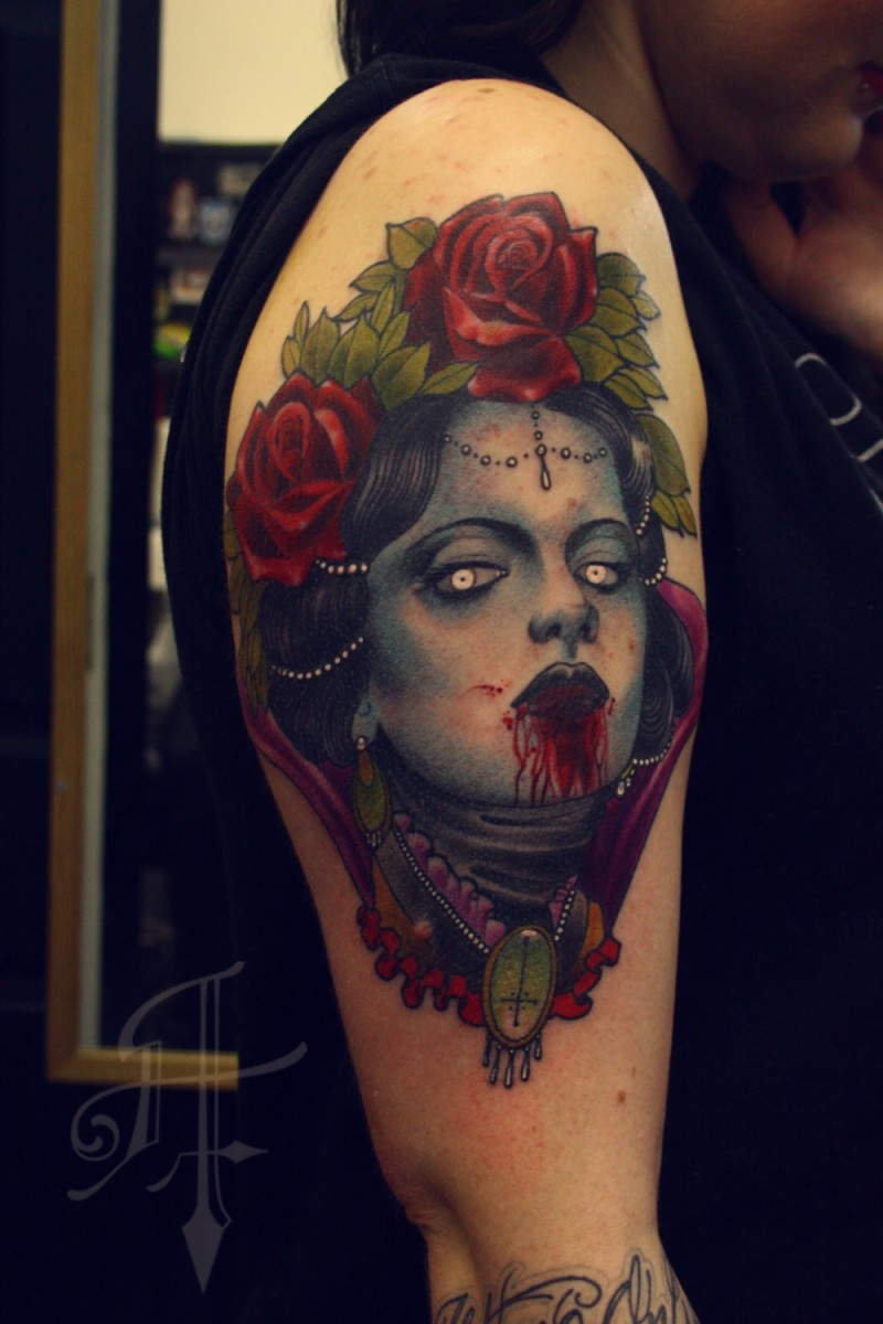 Colored horror style creepy looking bloody woman face tattoo on shoulder with roses