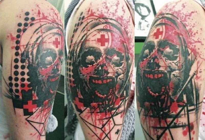 Colored horror style creepy looking bloody nurse tattoo with various ornaments