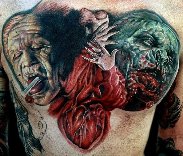 Colored horror style creepy looking chest tattoo of various monsters