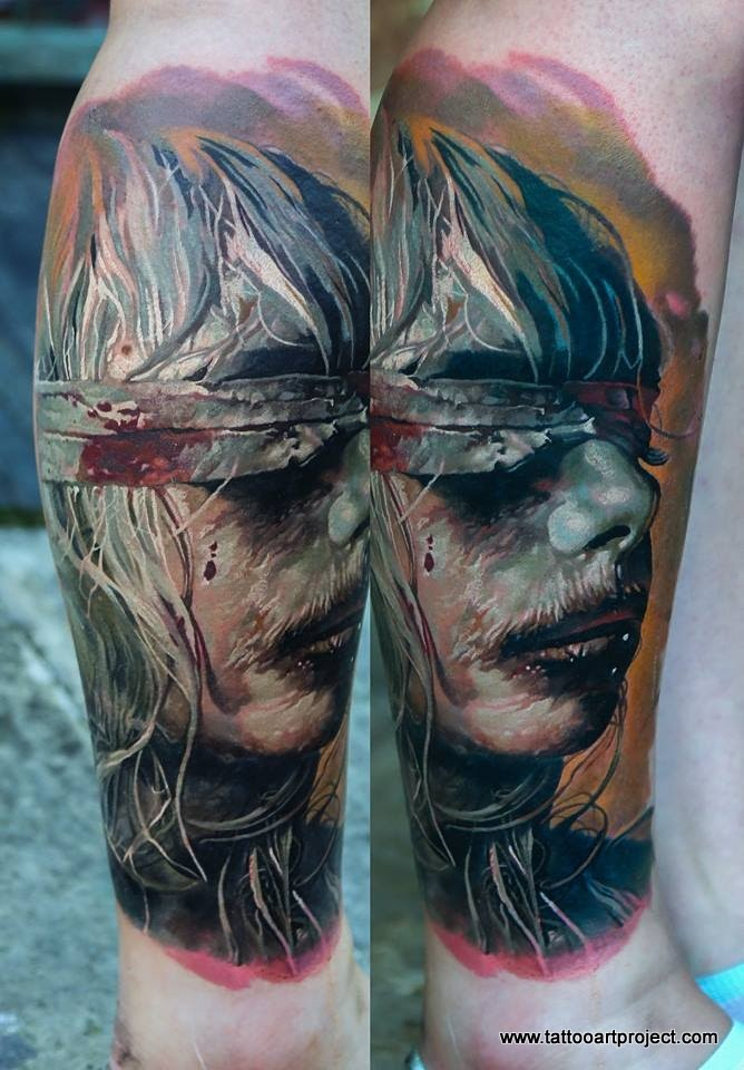Colored horror style creepy looking leg tattoo of creepy blind woman