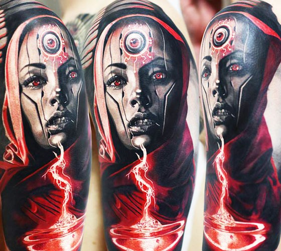 Colored horror style creepy looking shoulder tattoo of alien woman with lightning